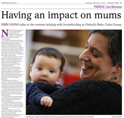 Lisa holiding a baby with the accompanying Oxford Times article titled Having an impact on mums