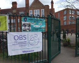 East Oxford Children's Centre gate with OBS banner